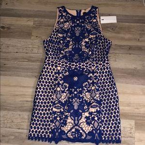 Blue & tan laced dress